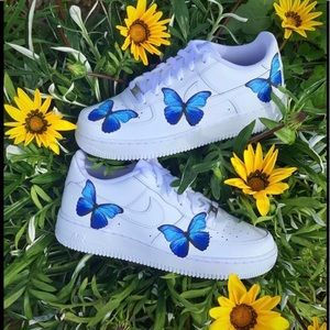 Nike Shoes   Blue Butterfly Air Force